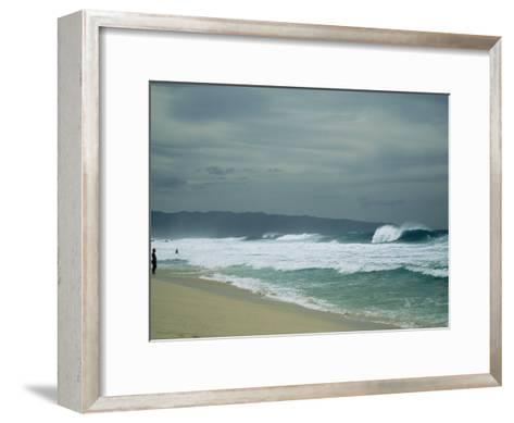 Waves Crashing onto the Beach of a South Pacific Island-Todd Gipstein-Framed Art Print