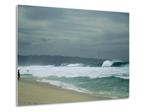 Waves Crashing onto the Beach of a South Pacific Island-Todd Gipstein-Metal Print