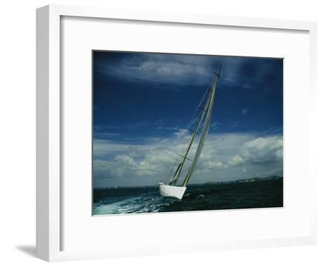 Americas Cup Boat America True Sailing on a Starboard Tack-Todd Gipstein-Framed Art Print