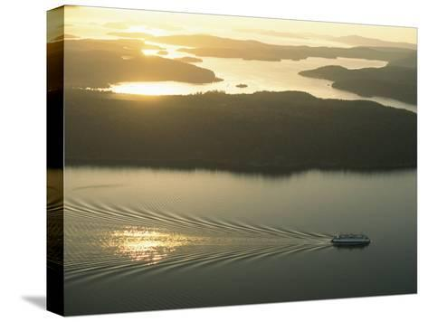Ferry Travels the Waterways of the San Juan Islands-Phil Schermeister-Stretched Canvas Print