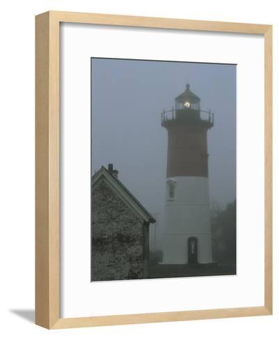 Nauset Lighthouse Standing Guard in Thick Fog-Darlyne A^ Murawski-Framed Art Print