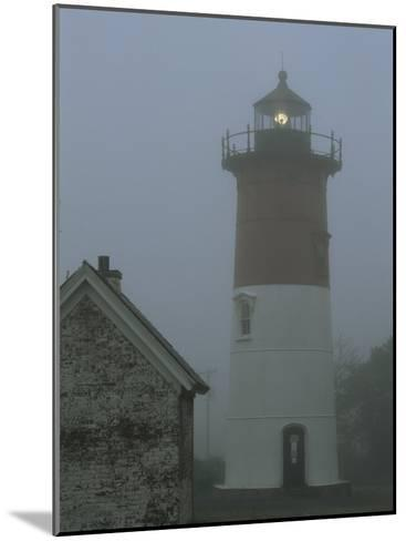 Nauset Lighthouse Standing Guard in Thick Fog-Darlyne A^ Murawski-Mounted Photographic Print