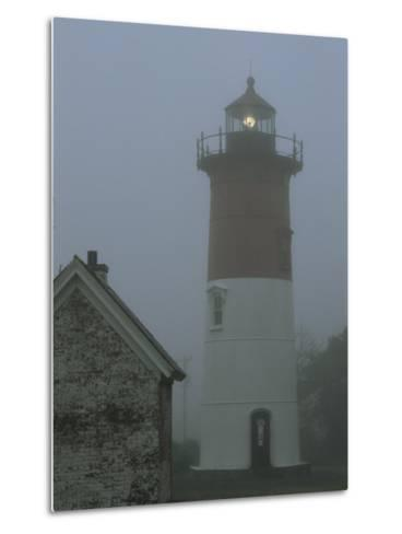 Nauset Lighthouse Standing Guard in Thick Fog-Darlyne A^ Murawski-Metal Print