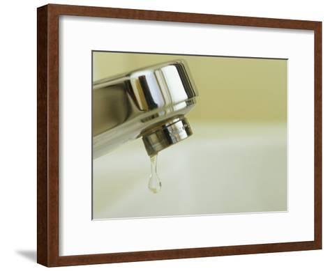 Water Dripping from a Leaking Bathroom Faucet, Wasting Water-Taylor S^ Kennedy-Framed Art Print