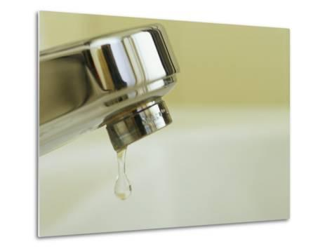 Water Dripping from a Leaking Bathroom Faucet, Wasting Water-Taylor S^ Kennedy-Metal Print