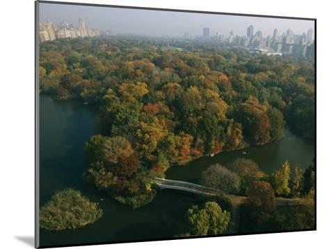 Aerial View of Central Park and the Manhattan Skyline in the Fall-Melissa Farlow-Mounted Photographic Print