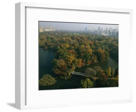 Aerial View of Central Park and the Manhattan Skyline in the Fall-Melissa Farlow-Framed Art Print