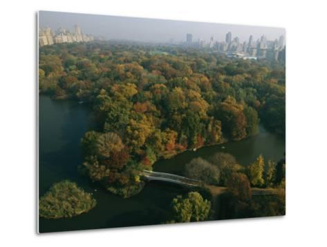 Aerial View of Central Park and the Manhattan Skyline in the Fall-Melissa Farlow-Metal Print
