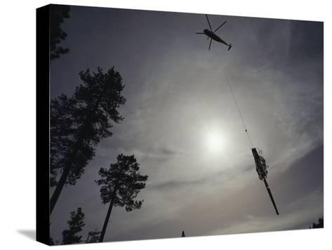 A Helicopter Lifts Cut Timber from the Forest; Helicopter Logging is Said to be Easier on Forest-Joel Sartore-Stretched Canvas Print