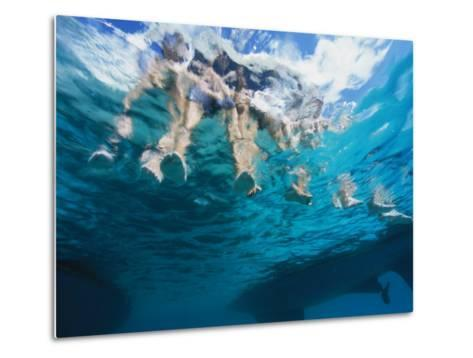 Boaters Dangle Their Feet in the Caribbean Sea-Heather Perry-Metal Print
