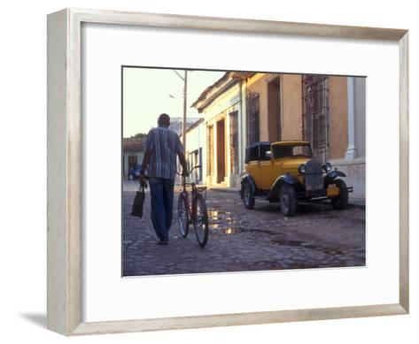 A Man Walks Down the Cobblestoned Street of This Tropical Island, Trinidad, Cuba-Taylor S^ Kennedy-Framed Art Print