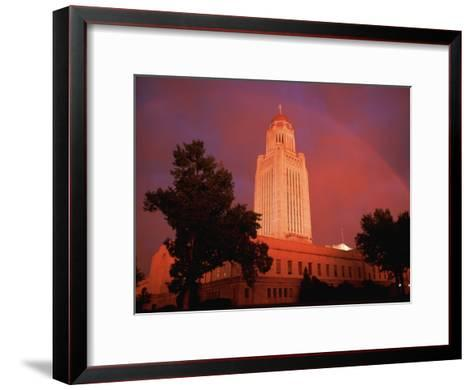 A Rainbow Shines Over the Nebraska State Capitol after a Storm-Joel Sartore-Framed Art Print
