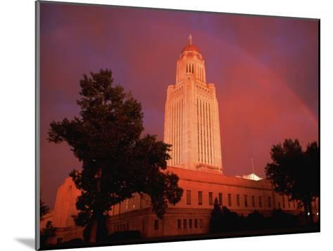 A Rainbow Shines Over the Nebraska State Capitol after a Storm-Joel Sartore-Mounted Photographic Print