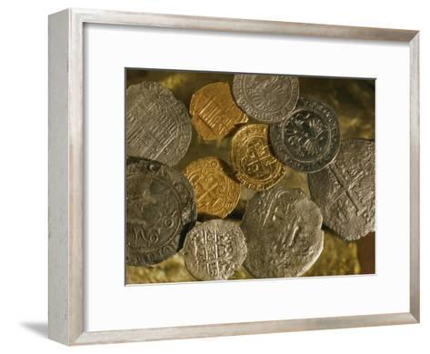 Gold and Silver Coins Minted in Both Spain and the Colonies-Ira Block-Framed Art Print