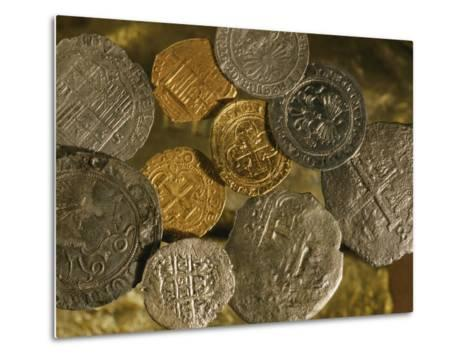 Gold and Silver Coins Minted in Both Spain and the Colonies-Ira Block-Metal Print