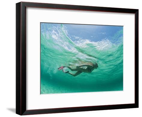 A Woman Snorkels under the Waves-Barry Tessman-Framed Art Print