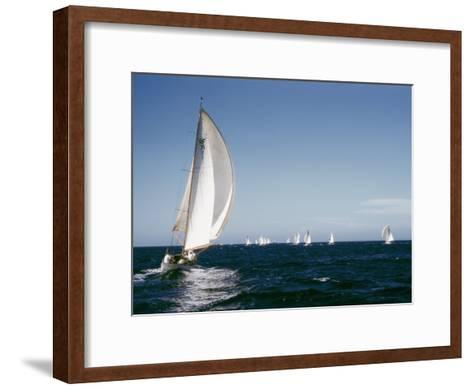 A 35-Foot Sailing Sloop is Seen from Behind-W^ Robert Moore-Framed Art Print