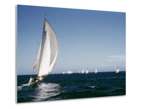 A 35-Foot Sailing Sloop is Seen from Behind-W^ Robert Moore-Metal Print