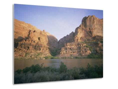 The Colorado River Flows Past Hole-In-The-Rock-Walter Meayers Edwards-Metal Print