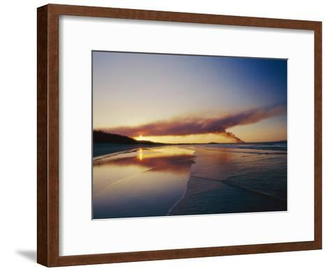Smoke from a Brushfire Forms a Large Cloud over a Shoreline Bathed in Low Sunlight-Jason Edwards-Framed Art Print