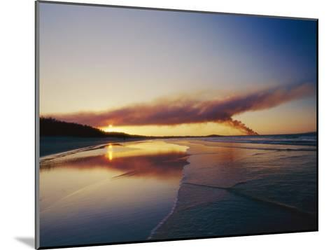 Smoke from a Brushfire Forms a Large Cloud over a Shoreline Bathed in Low Sunlight-Jason Edwards-Mounted Photographic Print