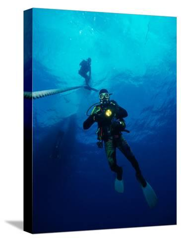 Divers in Chuuk (Formerly Truk) Lagoon-Heather Perry-Stretched Canvas Print