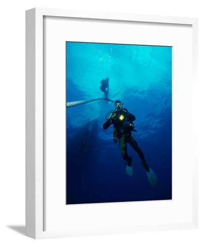 Divers in Chuuk (Formerly Truk) Lagoon-Heather Perry-Framed Art Print