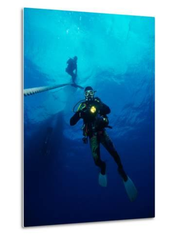 Divers in Chuuk (Formerly Truk) Lagoon-Heather Perry-Metal Print