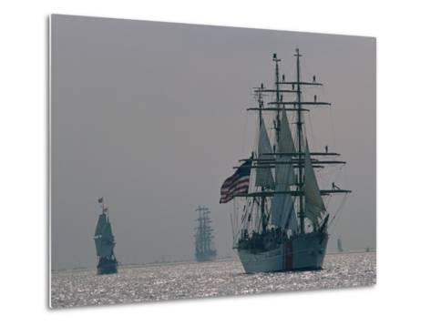 The United States Coast Guard Ship Eagle with Several Other Sailing Ships-Medford Taylor-Metal Print