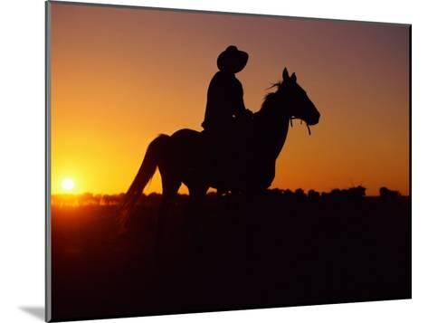 A Cowboy and His Horse Ride off in to the Sunset-Medford Taylor-Mounted Photographic Print