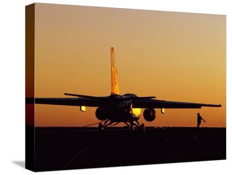 A U.S. Navy S-3 Viking is Is Ready to Fly from an Aircraft Carrier-Medford Taylor-Stretched Canvas Print