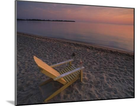 Beach Chair Facing the Water at Twilight-Bill Hatcher-Mounted Photographic Print