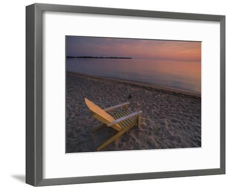 Beach Chair Facing the Water at Twilight-Bill Hatcher-Framed Art Print