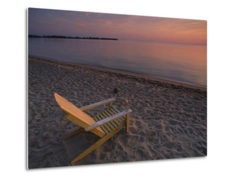 Beach Chair Facing the Water at Twilight-Bill Hatcher-Metal Print