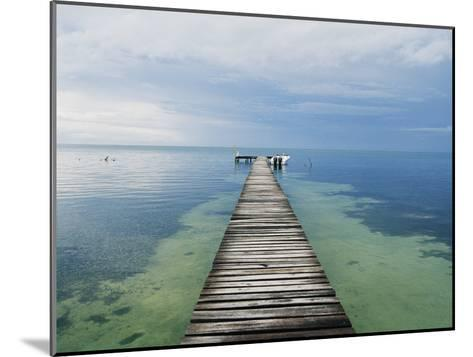 An Empty Dock Leads off into the Distance-Skip Brown-Mounted Photographic Print