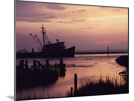 Fishing Boat Silhouetted at Twilight-Al Petteway-Mounted Photographic Print