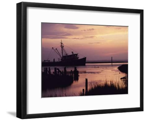 Fishing Boat Silhouetted at Twilight-Al Petteway-Framed Art Print