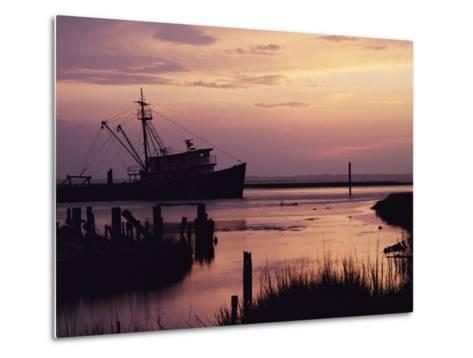 Fishing Boat Silhouetted at Twilight-Al Petteway-Metal Print