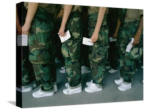 Marine Recruits Standing in Line-Karen Kasmauski-Stretched Canvas Print