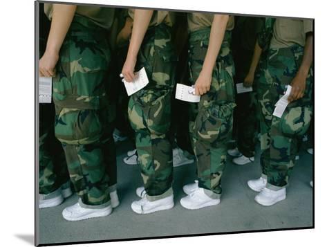 Marine Recruits Standing in Line-Karen Kasmauski-Mounted Photographic Print