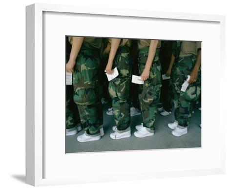 Marine Recruits Standing in Line-Karen Kasmauski-Framed Art Print