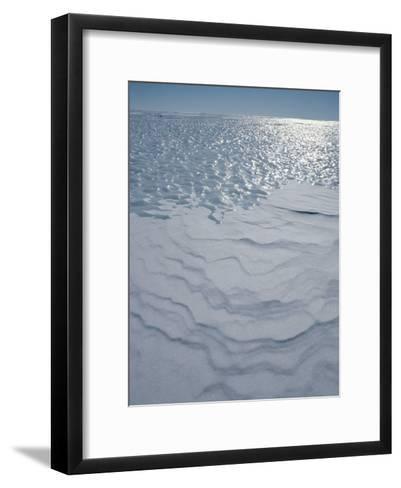 A Bare Ice Glacier and Wind Carved Sastrugi Snow on Antarctic Icecap-Gordon Wiltsie-Framed Art Print