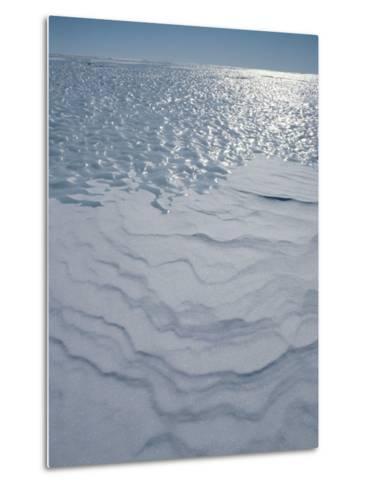 A Bare Ice Glacier and Wind Carved Sastrugi Snow on Antarctic Icecap-Gordon Wiltsie-Metal Print