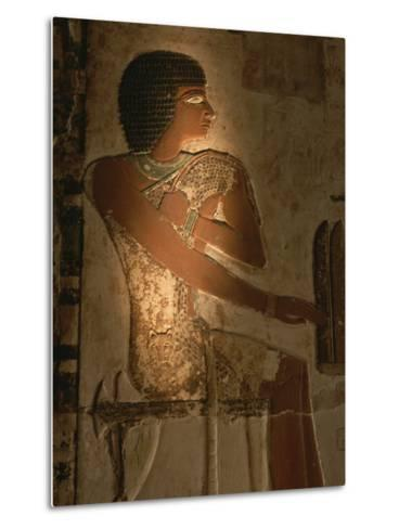 A Stone Relief Depicts a Member of Ancient Egyptian Royalty-Kenneth Garrett-Metal Print