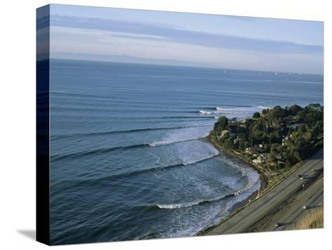 Epic Winter Surf Hitting Rincon Point-Rich Reid-Stretched Canvas Print