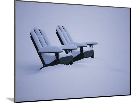 A Pair of Adirondack Chairs in the Snow-Michael Melford-Mounted Photographic Print