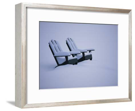 A Pair of Adirondack Chairs in the Snow-Michael Melford-Framed Art Print