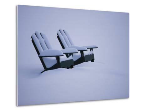 A Pair of Adirondack Chairs in the Snow-Michael Melford-Metal Print