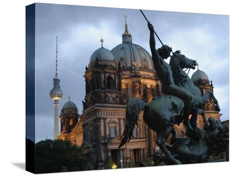 A Twilight View of the Berlin Cathedral, Berlin Landmarks at Night-Jim Webb-Stretched Canvas Print