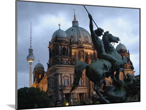 A Twilight View of the Berlin Cathedral, Berlin Landmarks at Night-Jim Webb-Mounted Photographic Print